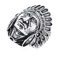 30MM Stainless Steel Head Of Indian Chief Ring For Men (Size 9 to 15)