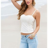 LACE AND GROMMET SIDE BUSTIER
