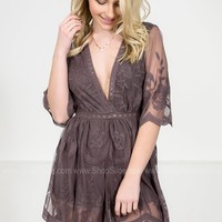 Floral Lace Romper | Midnight