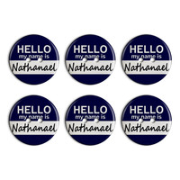 Nathanael Hello My Name Is Plastic Resin Button Set of 6