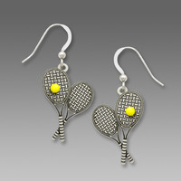 Sienna Sky Earrings - Tennis Racquet Earrings with Yellow Tennis Ball