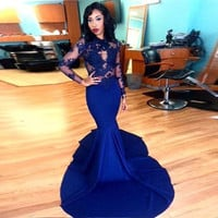 Long Sleeve Prom Dress,Royal Blue Prom Dresses,Long Evening Dress