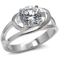 Brilliant CZ Stainless Steel Engagement Ring