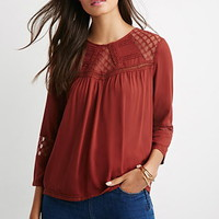 Embroidered Mesh Pintucked Blouse