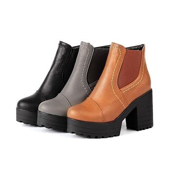 Chunky Heel Pumps Ankle Boots Women Shoes New Arrival