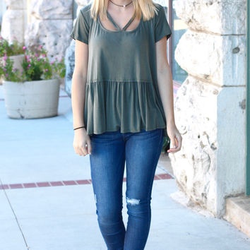 Cross Me Strappy Loose Fit Peplum Blouse {Olive}