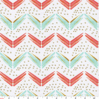 Coral and Teal Chevron Fabric by the Yard