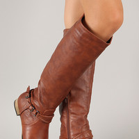 Carison-5 Buckle Riding Knee High Boot