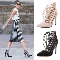 Hollow Out High Heel Pointed Toe Shoes = 4814676932