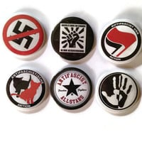 Set of 6 anti-fascist/ anti-racist motif  buttons/ badges, magnets, mirrors or bottle openers