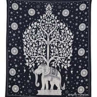 Black and White Indian Elephant Tree Tapestry Wall Hanging Decor Art - RoyalFurnish.com