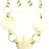 Online Exclusive! Oyster Shell Finish Chunky Bib Necklace Set