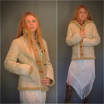 1970s natural shearling suede coat / Russian princess hippie ethnic vintage afghan reversible sheepskin fur jacket / almost famous