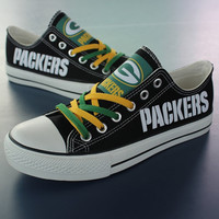 2016 Packers Sneakers Fashionable Canvas Tennis Shoes FREE SHIPPING