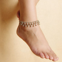 Bead Tassel Double-Layer Anklet