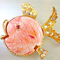 Pink Puffer Fish Brooch Pin, BOOK PIECE, Carved Lucite, ABs Rhinestone Vintage