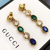 GUCCI Women Tassel Colorful Diamond Pendant Earrings Jewelry