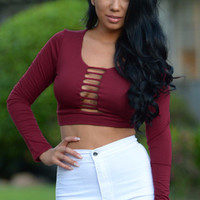 Burgundy Strappy Cut-out Front Crop Top