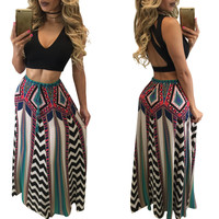 Sleeveless Backless Crop Top with Bohemian Maxi Skirt