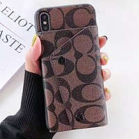 Coach Fashion New Pattern Leather Women Men Card Sleeve Protective Cover Phone Case