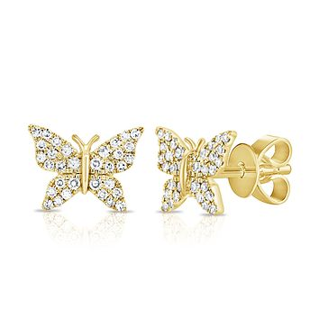 Pave Diamond Butterfly Post Earring