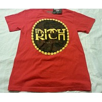 Tee Shirt Size Small Young Men Red Rich Life Print Graphic