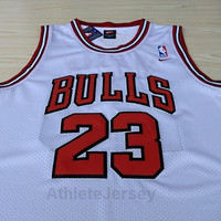 Michael Jordan Chicago Bulls 23 Super Rare NBA White Jersey Basketball Michael Jordan Bulls Jersey All Stitched and Sewn Any Size S - XXL