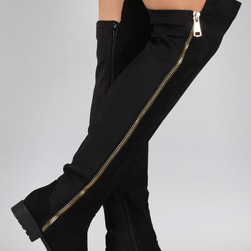 Bamboo Zipper Suede Stretchy Over-The-Knee Riding Boots