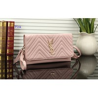 YSL Fashion Female Pure Chequered Small Shoulder Bag Long Handbag Pink
