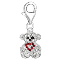 Sterling Silver Crystal Clip On Teddy bear Charm