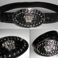 GIANNI VERSACE VERSACE STUDDED MEDUSA MOC CROCODILE BELT-VINTAGE 1998-FIERCE