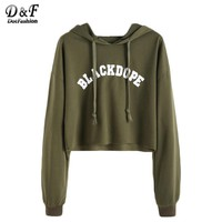 Dotfashion Hoodies Women Kawaii Clothes Women Hoodies Sweatshirts Crop Pullovers Letter Print Raw Hem Sweatshirt