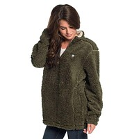 Sherpa Pullover with Pockets in Olive Night by The Southern Shirt Co.