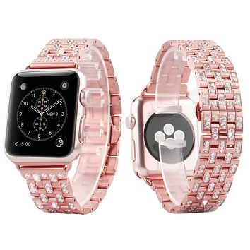 14k Rose Gold Finish Iced Out 42mm Steel Apple Watch Band