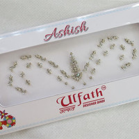 Adorable Bridal Silver Bindis In One Pack Studded With Rhinestones/ Indian India Bindis/ Bindi Headpiece/ Jewels/ Face Jewels/
