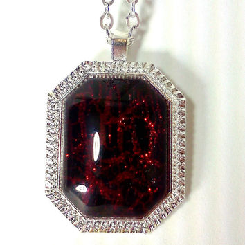 Red Necklace, Glitter Nail Polish, Nail Polish Jewelry, Crackle Polish, Ruby Slippers, Red jewelry, Ruby Necklace, Ruby Red, Red Glitter