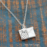 Sterling Silver Owl Messenger Necklace with Optional Note, Owl and Envelope Charm Necklace, Personalized Jewelry, Birthday Graduation Gift