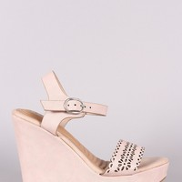 Bamboo Perforated Band Ankle Strap Platform Wedge