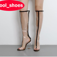 2017 fashion PVC transparent pointed toe thigh high boots zipper square heel hot sale women High-heel boots cool lady boots 548