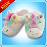 My Pillow Pets® - Rainbow Unicorn Slippers - Medium(Child's size 1-3)