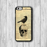 Old Newspaper SKULL Crow iPhone 6 Cover, Vintage Deadly Hallloween iPhone 6 Plus, iPhone 5S, iPhone 4S Hard Case, Rubber Accessories Gift