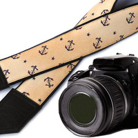 Anchors and Stars camera strap. DSLR / SLR Camera Strap. Photo accessories. Camera strap for Nikon, Sony, Fuji, Panasonic, Canon & other.