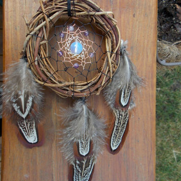 Boho Dream Catcher with Amethyst and Opalite // Hippie Spiritual Metaphysical Home Decor