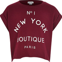 River Island Girls dark red boutique print t-shirt