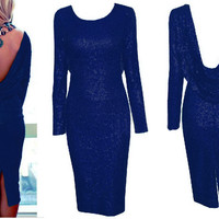 Blue Long Sleeve Cowl Back Sequined Bodycon Midi Dress with Back Slit