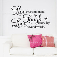 Love laugh live quotes Butterfly wall decal 1002 warm home wall sticker for kids rooms Living room Bedroom Home Decoration