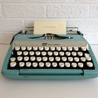 Vintage Smith Corona Turquoise Typewriter - Corsair Deluxe