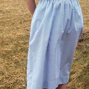 Vintage dress - Blue and white seersucker day dress with rope belt