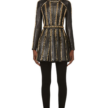 Balmain Black Leather And Chainmail Dress
