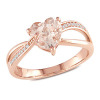 7.0mm Heart-Shaped Morganite and Diamond Accent Ring in 10K Rose Gold - View All Rings - Zales